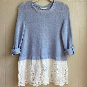 Altar'd State Layered Lace Button-Back Sweater
